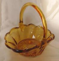 1930s VINTAGE GERMAN AMBER CRYSTAL GLASS DECORATIVE CANDY BOWL - BASKET