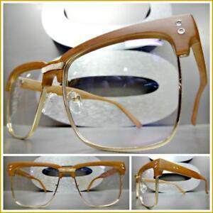 Men Classy Elegant Modern Exotic Clear Lens EYE GLASSES Square Gold Wooden Frame
