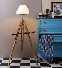 Surveyor Nautical Beautiful Teak Tripod Floor Lamp Shade Stand Home Decor