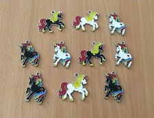 10 X Rainbow Unicorn Mixed Horn Metal Enamel Charms Pendants