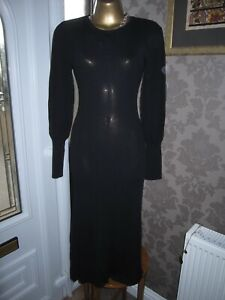 ZARA BLACK  BALLOON SLEEVE RIBBED KNIT DRESS SIZE MEDIUM