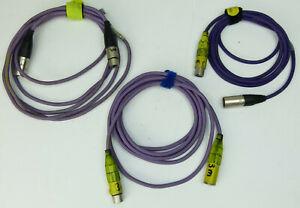 3 x 5-pol DMX Kabel je 3 m - LILA mit 5 pol XLR Stecker / Kupplung male / female