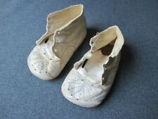 Vintage cute white leather baby shoes Great for dolls a