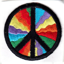 """PEACE SIGN, MULTICOLORED (2"""" ROUND) - IRON ON OR STICK ON PATCH  - LOVE"""