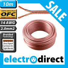 10m 14AWG (2.0mm2) Speaker Cable Roll 100% Pure Copper OFC - 14 Guage Wire Cord