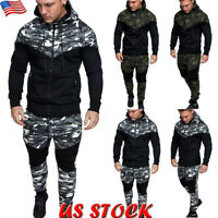 US Mens Camouflage Tracksuit Set Sports Hoodie Zip Coat Top Bottoms Joggers Suit