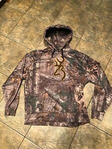 Browning Realtree Camo Hoodie Sweatshirt Green Brown Pullover Adult Men's Large