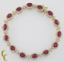 14k Yellow Gold 11.00 carat Ruby and Diamond Station Bracelet Size 6.75""