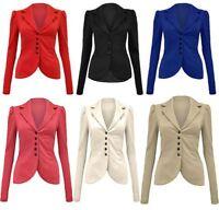A50 WOMEN'S 5 BUTTON FRONT PONTE SLIM FIT OFFICE SMART BLAZER JACKET COAT 8-14