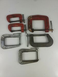 Vintage Adjustable C Clamps Lot Of 6 (craftsman, stanely, pony)