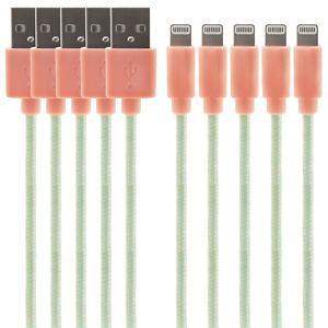 iPhone / iPad MFI Certified Lightning Cable 5-Pack (1.2m, Peach)