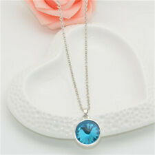 Womens Silver charm Round Crystal Pendant Chain Necklace Birthday jewelry NEW06