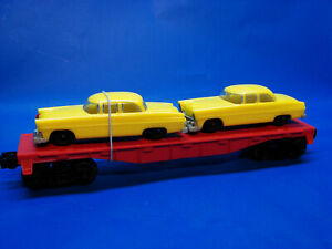 Rare 1963 Lionel 6410 Unmarked 6511 Auto Flatcar w/ Lemon Yellow 6406-30 Autos