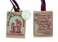 Our Lady of Mt. Carmel Promise Brown Cloth Scapular with Saint Benedict Medal