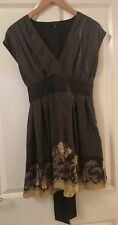 TED BAKER Brown Spotty Floral Silk Dress Occasion Party Size 2 UK 10