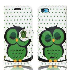 Flip Wallet Leather Cover Case for Apple iPhone Models Screen Protector Sleeping Owl I Phone 5c