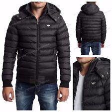 Men Armani Jacket Coat Hooded Long Sleeve Size XS Black Color Winter Full Zipper