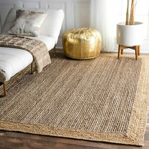 Jute Rug 100%Natural Braided Jute Reversible Modern Living Area carpet Decor Rug