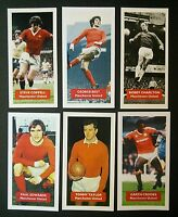 Lot of 6 MANCHESTER UNITED Score UK football trade cards COPPELL BEST CHARLTON