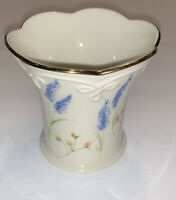 Lenox Ivory Floral Votive Candle Holder with Gold Trim & Fluted Top