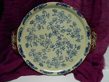 """Temptations Temp-tations Floral Lace Plate with Handles Blue Brown 10"""""""