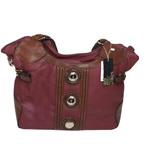Western Style Large Faux Leather Dark Red Shoulder Handbag Purse