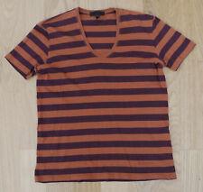 Burberry Prorsum - Mens Small Orange & Brown StripedSmart Classic V-neck T-Shirt