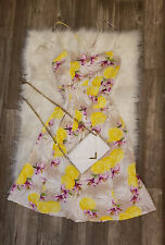 NWT's S Beautiful Beige Floral Travel Long Strappy Button up Sweetheart Dress