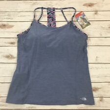 The North Face Women's Exposure Tank Top Shelf Bra Blue Strappy Back Sz XL