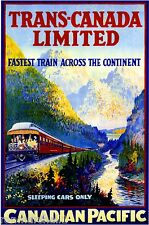 1924 Trans- Canada Canadian Pacific Vintage Railway Travel Advertisement Poster