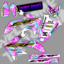2002 2003 2004 CRF450R GRAPHICS KIT HONDA CRF 450 R NIGHT RIDER : CYAN / MAGENTA