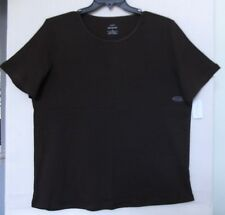 CJ Banks Size 3X Solid Brown knit top, short sleeves, satin trim,  NWT