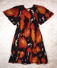 GO SOFTLY PATIO XL Black Red Monarch Butterfly Crinkle Gauze Dress