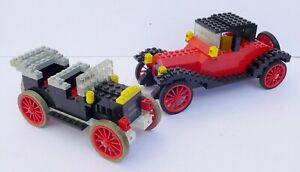 Two Vintage Classic Lego Large Vehicles - Antique Car & Cadillac (Complete)