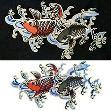 Fish Iron on patch big koi in stream salmon river fishes swim iron-on patches