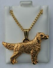 English Setter Tail Out Dog 24K Gold Plated Pewter Pendant Chain Necklace Set