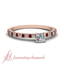 3/4 Carat Asscher Cut Diamond And Ruby Engagement Ring Pave Set In Rose Gold GIA