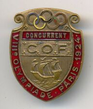 Paris Olympic Games 1924 Official Participation Concurrent Enamel Badge #8617 RR