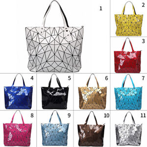 Ladies Sequin Shoulder Bag Geometric Quilted Lattice Laser Collapsible Handbag