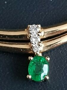 Mordenist 18ct yellow Gold Heavy Emerald and Diamond  Necklace marked 750.