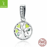 Fit Women 925 silver charm Green Family Tree of Life Pendant Charms Dangle Beads