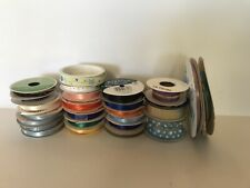 Lot of 25 Fabric Acetate Ribbon Spools Crafts And Wrapping Vintage