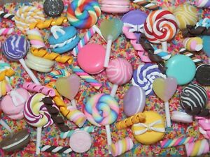 NEW Mixed Clay/Resin Cabochons Sprinkles FAKE Topping Macaroons Flumps Lollipop