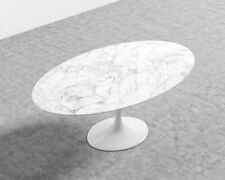 """Rove Concepts Tulip Table Oval Black and White Carrara Marble 61"""" - Retail $2695"""