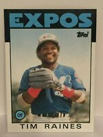 1986 Topps Tim Raines Baseball Card Montreal Expos MLB #280 HOF NrMt-Mint Rock