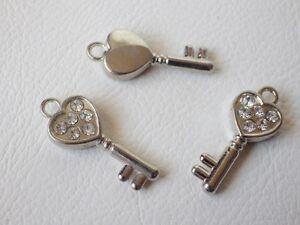 3 x Diamante Pendant: BNDiam34 - KEY 25.75mm x 10.7mm