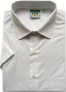 Mens White And Black Short Sleeve Classic Shirt Work Formal School 14.5 To 18.5