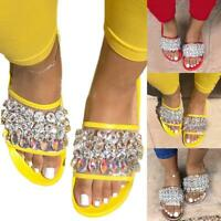 Ladies Womens Flat Studded Cage Diamante Summer Slider Sandals Shoes Size  Hot