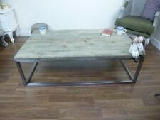 Handmade Wooden Coffee Table With Metal Frame - Solid Wood Top