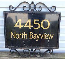 Old Vtg Black Wrought Iron Scrollwork Post Address Residence Name Plate Sign